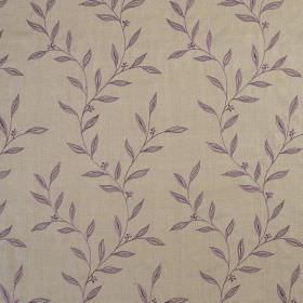 Willow Trail - Thistle - Purple and light brown coloured 100% silk fabric featuring a simple, small leaf design
