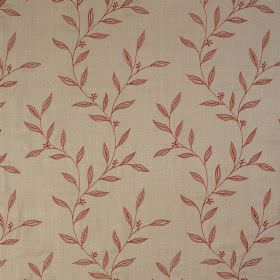 Willow Trail - Cayenne - Fabric made from light brown-beige coloured 100% silk behind a design of simple, small leaves in burnt orange