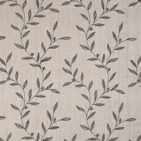 Willow Trail - Oatmeal - Small, simple leaves printed in dark midnight blue-grey against a background of very pale grey coloured 100% silk f