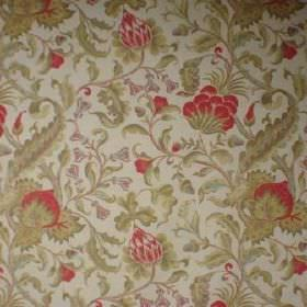Lyceana - Coral - A busy pattern of green flowers and leaves with some pink-red, on a very pale grey linen-cotton blend fabric background