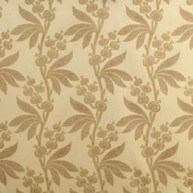 Blenheim - Dickens Green - Light brown & pale yellow coloured fabric with a pattern of leaves and seed pods, made from viscose, cotton & pol