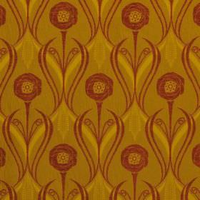 Rheims - Cinnamon - Vibrant olive green-yellow viscose, cotton and polyester blend fabric with dark red swirls, wavy lines and flowers