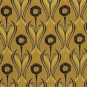 Rheims - Maize - Black swirls, wavy lines & flowers patterning olive green coloured fabric made from a mix of viscose, cotton & polyester