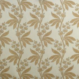 Blenheim - Duck Egg - Viscose, cotton and polyester blend fabric the colour of putty, with a gold  vertical pattern of leaves and seed pods
