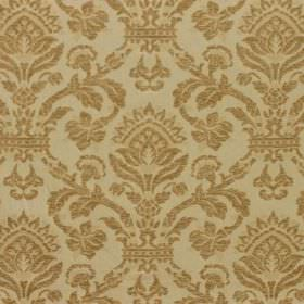 Westminster - Mortar - Green-grey and green-gold coloured viscose, cotton and polyester blended fabric with a large, ornate pattern