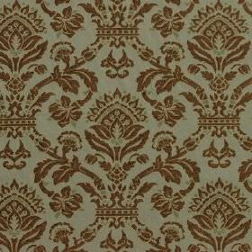 Westminster - Sage - An ornate pattern which is large and brown on a light green-blue background blended from viscose, cotton and polyester