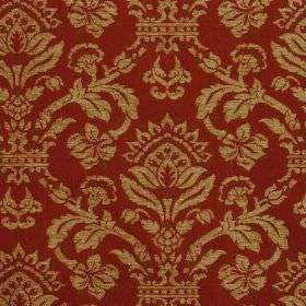 Westminster - Venetian Red - Viscose, cotton and polyester blended together to form this deep red and gold coloured, ornately patterned fabr
