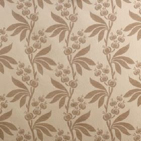Blenheim - Porcelain Cream - Two shades of light brown making up this viscose, cotton and polyester blend fabric's leaf and seed pod pattern