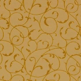 York - Straw - Mustard yellow and caramel coloured fabric patterned with swirls and leaves, blended from viscose, cotton and polyester
