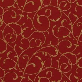 York - Venetian Red - Thin gold swirls on a deep burgundy background made from fabric which is a mix of viscose, cotton and polyester