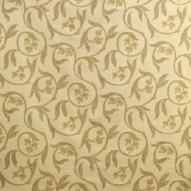Chatsworth - Dickens Green - Brown-green swirls, leaves and seed pods on a background of pale yellow fabric made from a blend of different f
