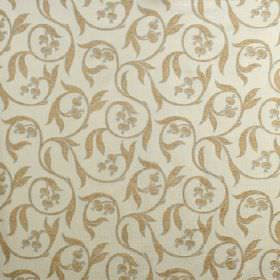 Chatsworth - Duck Egg - Gold and putty coloured viscose, cotton and polyester blend fabric patterned with swirls, leaves and seed pods