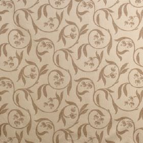 Chatsworth - Porcelain Cream - Viscose, cotton and polyester blended into a caramel coloured fabric, with a brown swirl, leaf and seed pod p