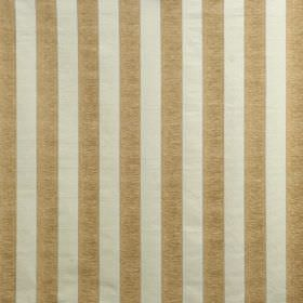 Cliveden - Duck Egg - Striped viscose, cotton and polyester blend fabric in gold and putty colours