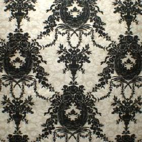 Enchanted - Ebony - Patterned viscose, cotton and polyester blend fabric in very pale grey, with very ornate, detailed black patterns on top