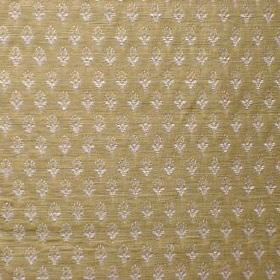 Belvedere - Brompton Gold - Individual white-pink floral shapes on an olive green viscose, cotton and polyester blend fabric background
