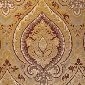 Belcanto - Sophia - Gold, dark red, white and pale grey fabric containing viscose and polyester, with a large, very detailed, ornate design