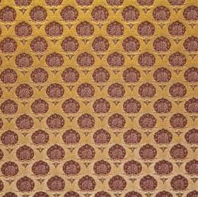 Belcanto - Harmonia - Fabric made from viscose and polyester in pumpkin orange as a background for a small, repeated pattern in very dark re