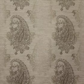 Boteh Embroidery - Truffle - Several different shades of grey making up a viscose, polyester and linen blend fabric's detailed paisley shape
