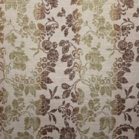 Carrey - Mango - Bands of dark brown and light green leaves and seed pods on cream coloured fabric with a viscose, polyester and linen blend