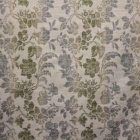 Carrey - Pastille - Viscose, polyester and linen blend fabric in pale grey patterned with bands of light blue and green leaves and seed pods