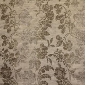 Carrey - Truffle - Fabric with a viscose, polyester & linen blend and a pattern of leaves and seed pods in several different shades of grey
