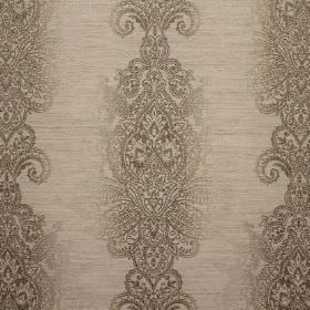 Cypress Embroidery - Truffle - Viscose, polyester and linen blend fabric witha detailed, ornate pattern in several different shades of grey
