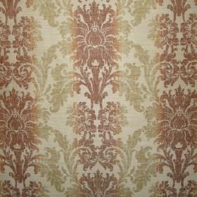 Palme - Mango - Viscose, polyester and linen blended together into a brown, light green and cream coloured, ornately patterned fabric