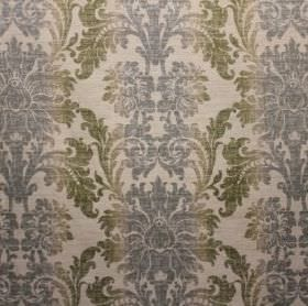 Palme - Pastille - A very ornate pattern in blue and green on a cream coloured fabric background, blended with viscose, polyester and linen