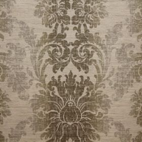 Palme - Truffle - Fabric with a viscose, polyester and linen blend in several different shades of grey, making up a very ornate pattern