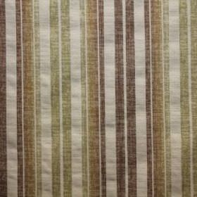 Satara - Mango - Fabric made with a pale grey, brown, gold and light green striped viscose, polyester and linen blend