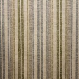 Satara - Pastille - A blend of viscose, polyester and linen formed into a cream, blue and green striped fabric