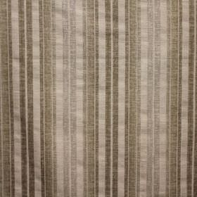Satara - Truffle - Viscose, polyester and linen blend fabric striped in cream and several different shades of grey