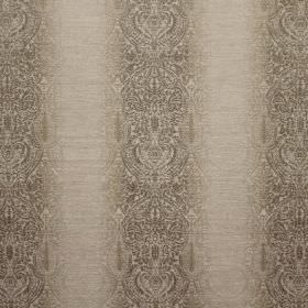 Ambi Embroidery - Truffle - Fabric in two shades of grey, with a viscose, polyester and linen blend, and a striped and intricately patterned