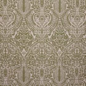 Arabesque - Green - Fabric made from a mix of viscose, cotton and polyester in white, with a small, detailed, intricate dark green pattern
