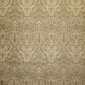 Arabesque - Mushroom - Viscose, cotton and polyester blended into a grey and light yellow fabric with a very detailed, intricate repeated patt