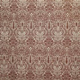 Arabesque - Red - Off-white viscose, cotton and polyester blend fabric featuring a dark red pattern which is very detailed and intricate