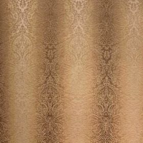 Cambridge Fortuna - Wheat - Viscose, cotton and polyester blend fabric in warm shades of brown, with vertical stripes which are ornately pat