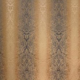 Cambridge Fortuna - Bluestone - Dark grey and caramel striped viscose, cotton and polyester blend fabric which also has a detailed, intricat