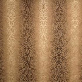 Cambridge Fortuna - Linen - Patterned viscose, cotton and polyester blend fabric coloured in vertical bands of dark brown and light gold