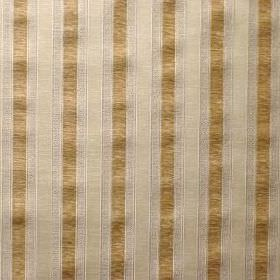 Claymont - Straw - Fabric made from viscose, cotton and polyester, with a vertical striped design in gold, silver and cream