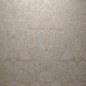 Mottisfont - Oyster - Ornately patterned viscose, cotton and polyester blend fabric in silver