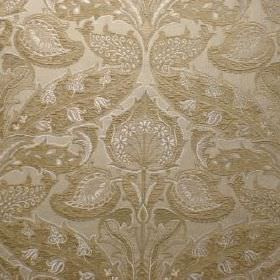 Mottisfont - Straw - Gold-green and silver viscose, cotton and polyester blend fabric which has a large, very ornate pattern