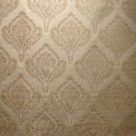 Saltram - Straw - Gold-silver coloured fabric with a viscose, cotton and polyester blend and a repeated, ornate pattern