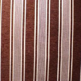 Toulouse - Chocolat - Viscose, polyester and cotton blend fabric striped in very dark brown and white