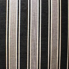 Toulouse - Noir - A simple, repeated black and white striped design on fabric made with a mix of viscose, polyester and cotton