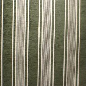 Toulouse - Vert - Fabric blended from a mix of viscose, polyester and cotton, with a dark green and white repeated stripe design