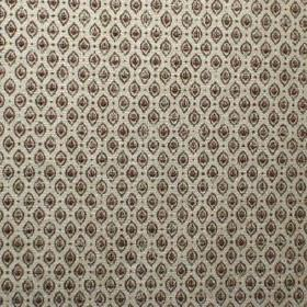 Orleans - Chocolat - Viscose, polyester and cotton blend fabric in pale grey patterned with tiny, repeated shapes in very dark brown and gre