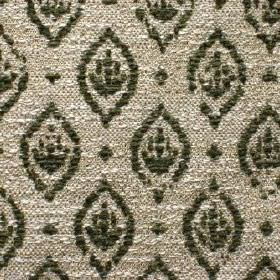 Orleans - Vert - Detail of dark green pointed ovals and dots on a silver viscose, polyester and cotton blend fabric background