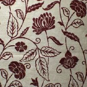 Marseille - Bordeaux - Silver coloured fabric with a mix of viscose, polyester and cotton, and a dark red simple floral and leaf design